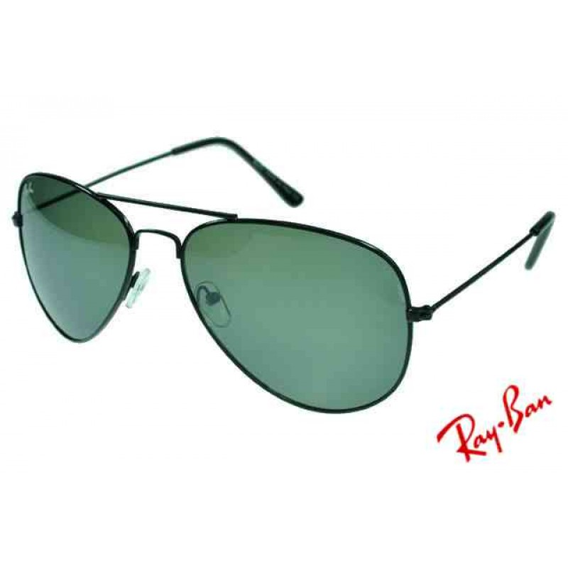 7a4b46d999 Ray Ban Aviator RB3026 Sunglasses Black Frame Green Lens Authentic