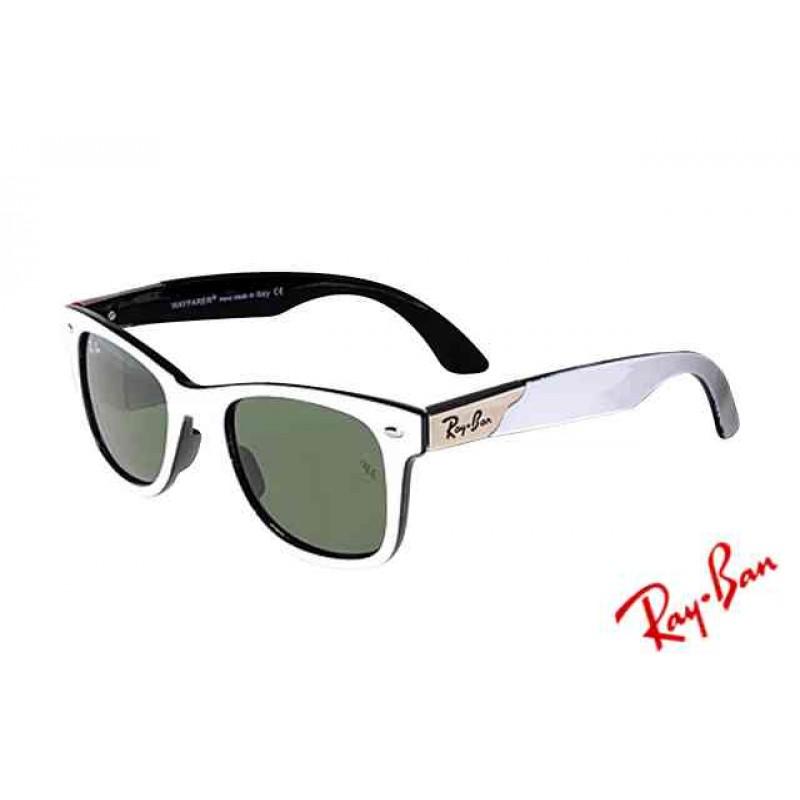 082fbf5392 Ray Ban Wayfarer RB2132 Sunglasses White Black Frame Green Lens Replica