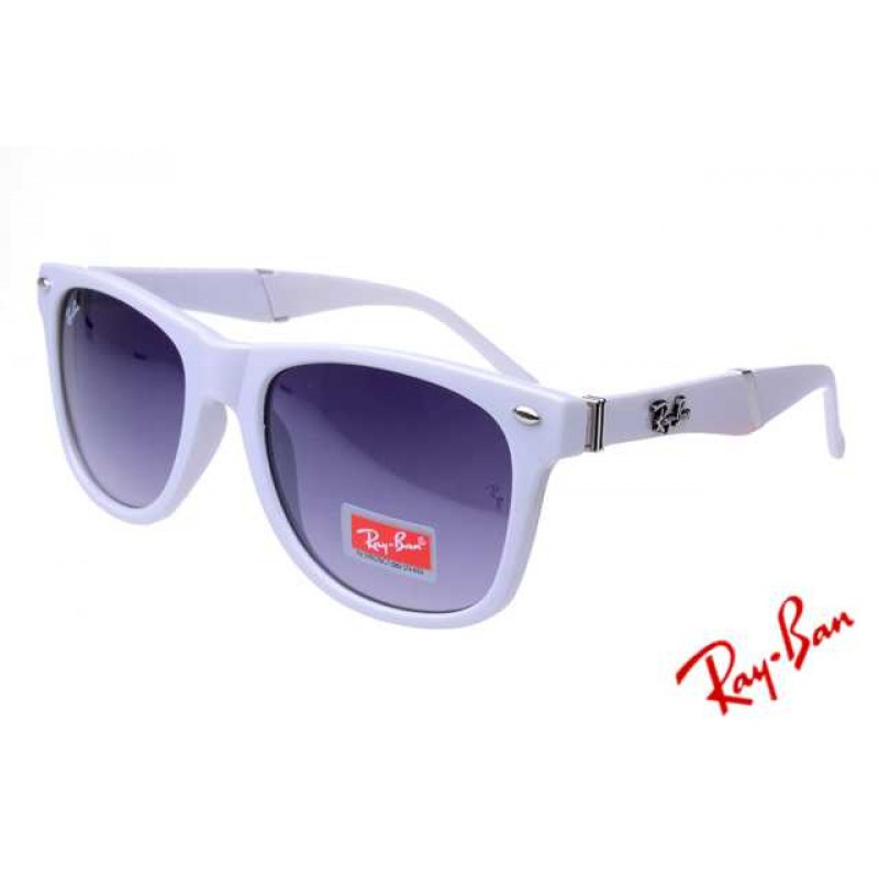 33b06cceed02e Ray Ban Wayfarer Folding RB4105 Purple White Sunglasses Real